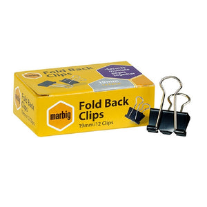 Foldback Clips 19mm 12 x 12 Pack
