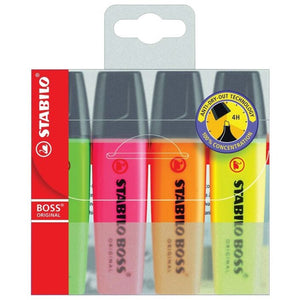 Stabilo Boss Highlighter Assorted 4 Pack