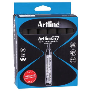 Artline 577 Whiteboard Markers Bullet Black 12 Pack