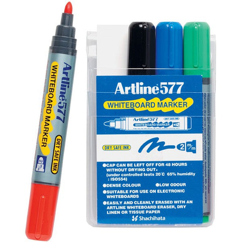Marker Whiteboard Artline 577 Bullet Tip Assorted Wallet 4