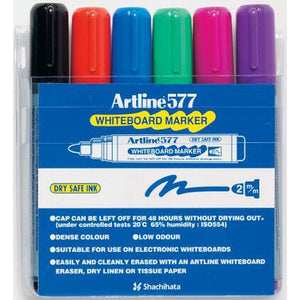 Marker Whiteboard Artline 577 Bullet Tip Assorted Wallet 6