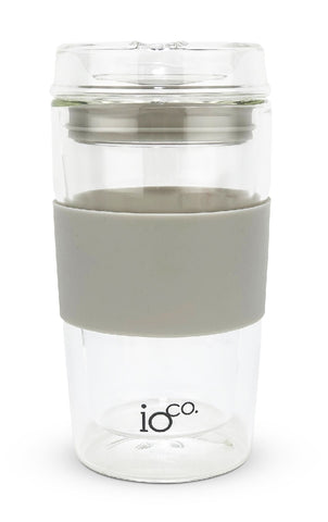 IOco 12oz ALL GLASS Glass Tea & Coffee Traveller - Warm Latte