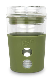 IOco 8oz ALL GLASS Coffee Traveller - Olive Green