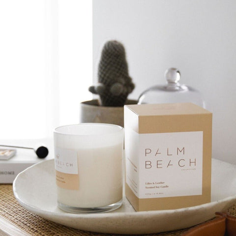 Palm Beach Candle Liles & Leather 420g