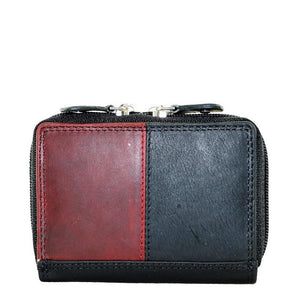 Leather Zip around Card Holder Black/Red