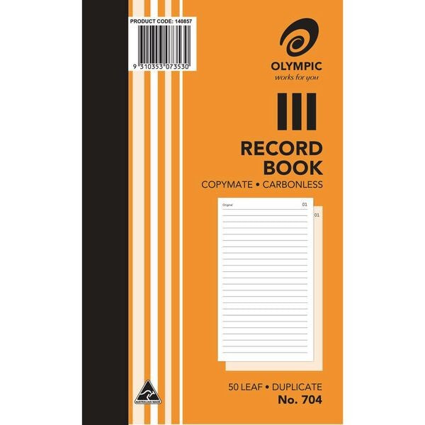 Olympic No.704 Carbonless Duplicate Record Book