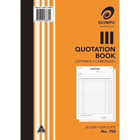 Olympic No.750 Quotation Book Carbonless Duplicate