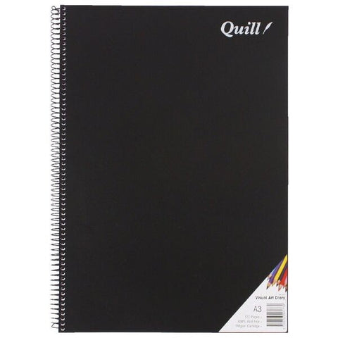 Quill A3 Visual Art Diary 110gsm Black