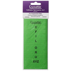 Crystalfile Indicator Tab Inserts A-Z Green 60 Pack