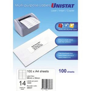 Label Unistat Laser/Inkjet/Copier 14 Per Sheet Pack 100