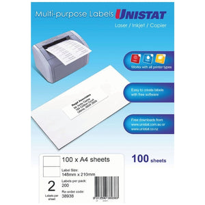 Label Unistat Laser/Inkjet/Copier 2 Per Sheet Pack 100