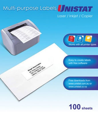 Label Unistat Laser/Inkjet/Copier 1 Per Sheet Pack 100
