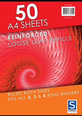 Loose Leaf Binder Refill A4 50 Sheets Lined