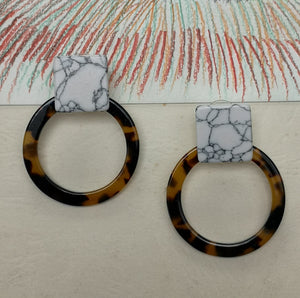 Marble square and hoop earrings