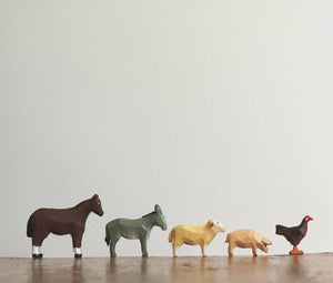 Mini wooden farm and forest animals