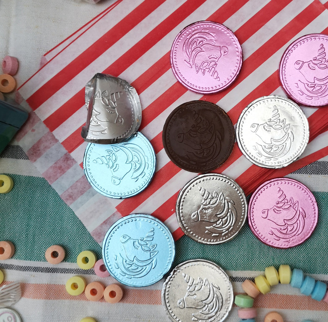 Unicorn chocolate coins