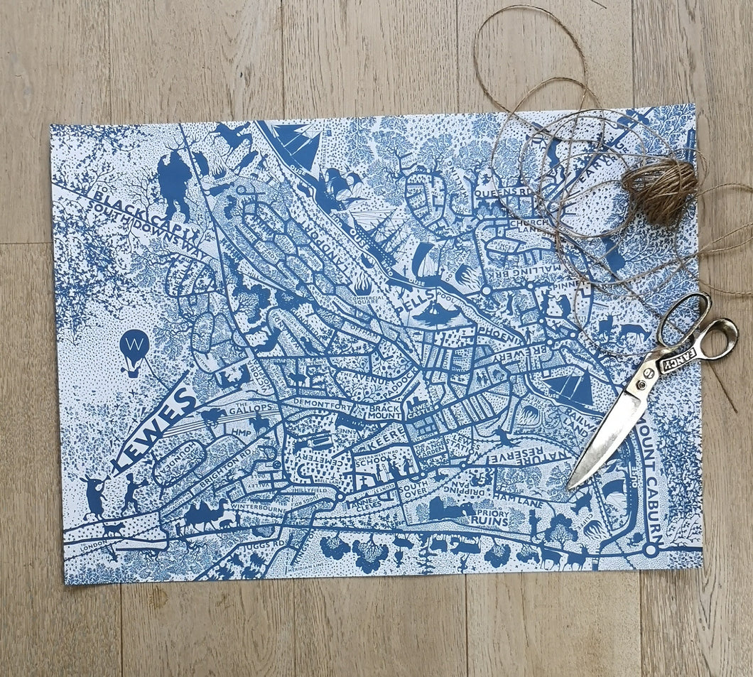 Lewes map wrapping paper