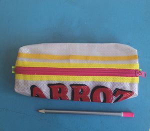 Recycled rice sack pencil case