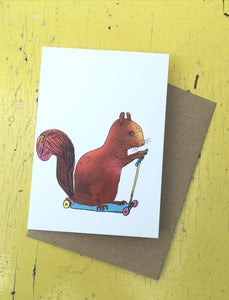 Scootering squirrel greeting card