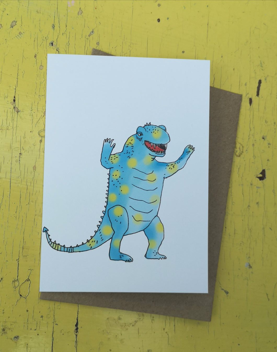 Goofy godzilla greeting card
