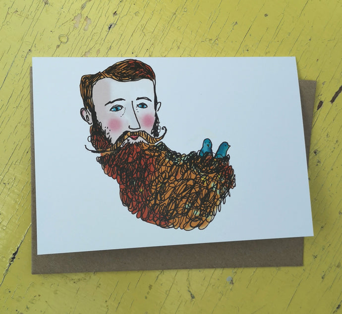 Birds in beard greeting card