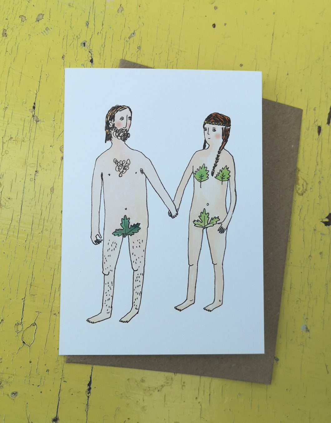 Nude newly weds greeting card
