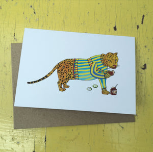 Jamming jaguar greeting card