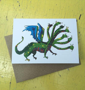 Happy hungry hydra greeting card