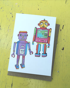 Rapping robots greeting card