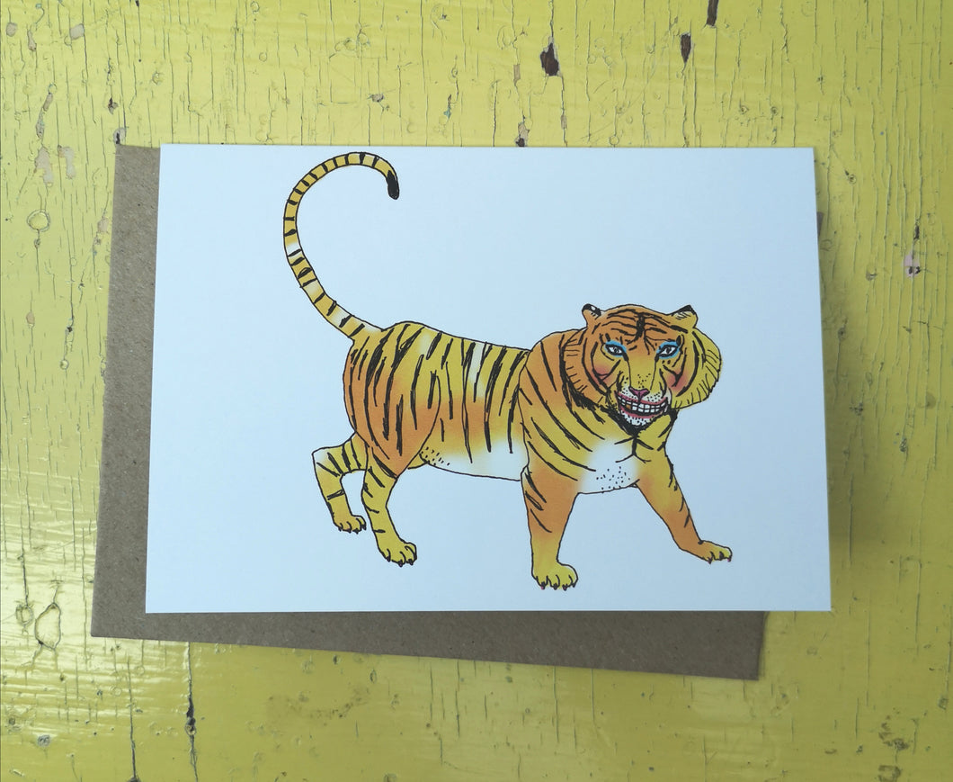 Tense tiger greeting card