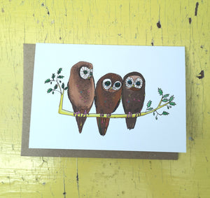 Ogling owls greeting card