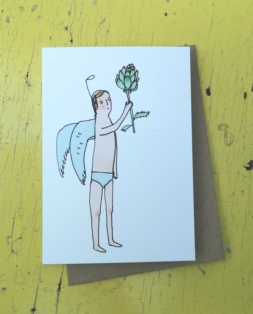 Angle with artichoke greeting card