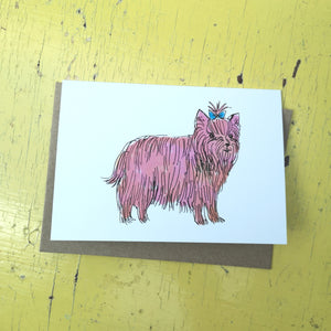 Pink puppy greeting card