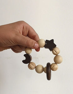 Wooden star and moon rattle