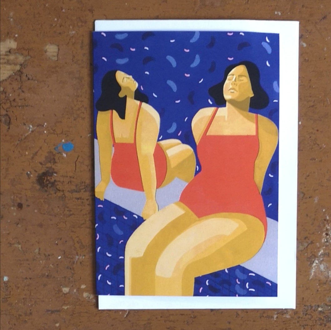 Sunbathing ladies card