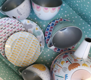 Musical tin tea set