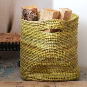 Recycled plastic log basket