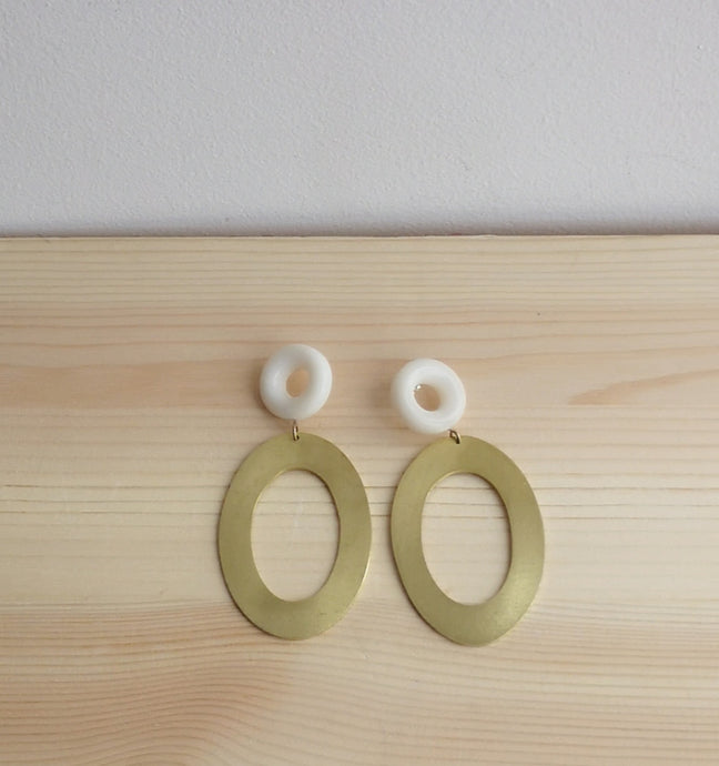 Tagua and oval brass earrings
