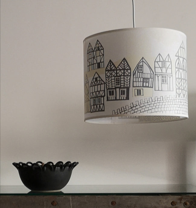 Grey tudor house lamp shade