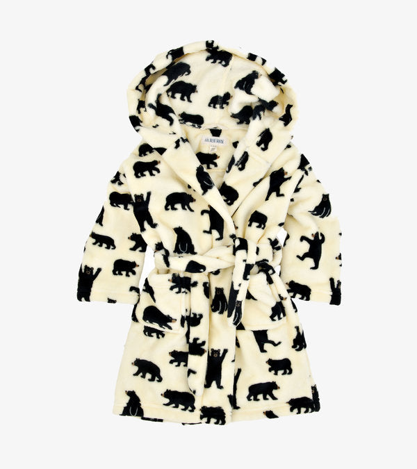 Black bear fleece dressing gown