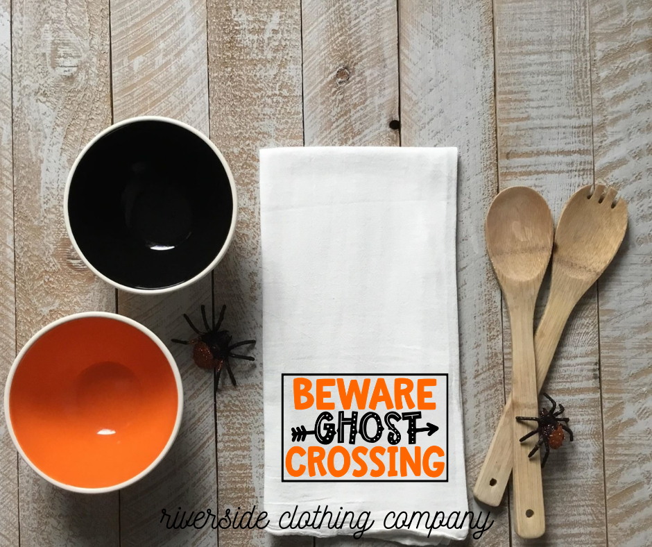 Beware Ghost Crossing Halloween Hand Towel