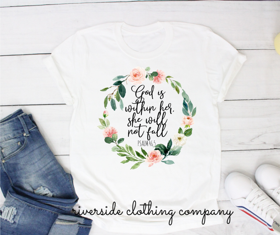 God is Within Her She Will Not Fail Short Sleeve Tee