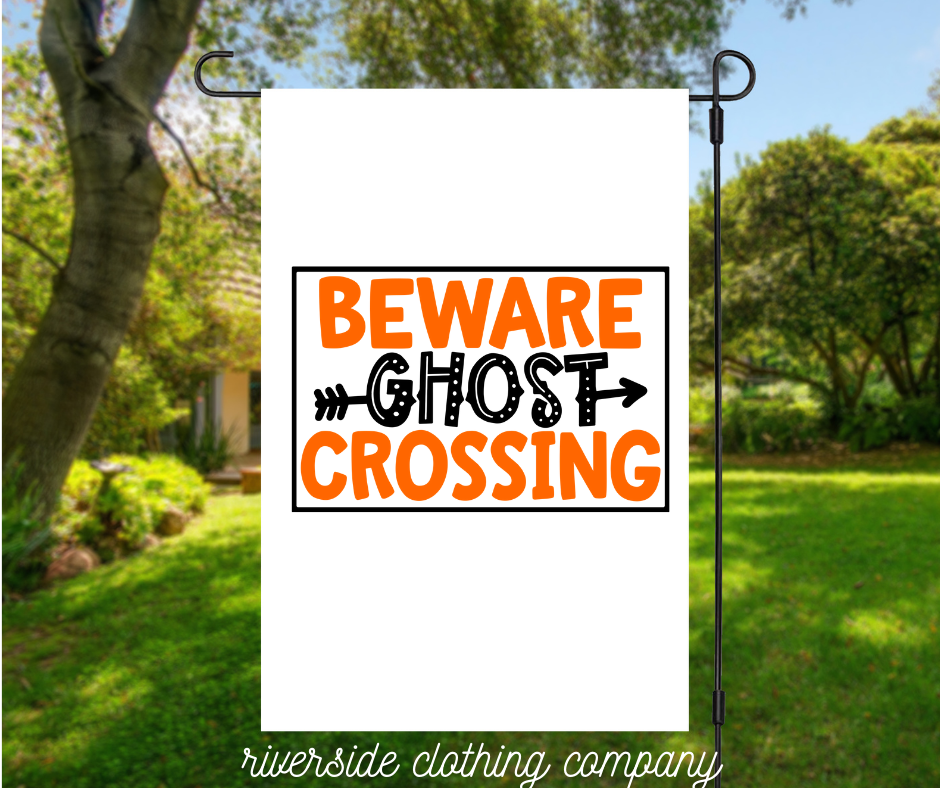 Beware Ghost Crossing Garden Flag