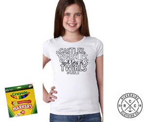 Castles, Sparkles, and Lots of Twirls Coloring Shirt