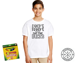 Ducks Trucks and Eight Point Bucks Coloring Shirt