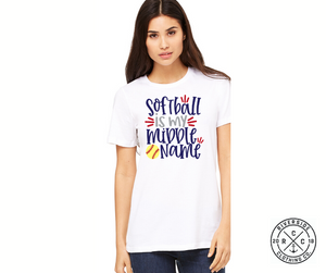 Softball is my Middle Name Short Sleeve Tee