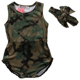 2pcs Newborn Kids Baby Girls Boy Camo Romper Jumpsuit Outfits Sleeveless Clothes