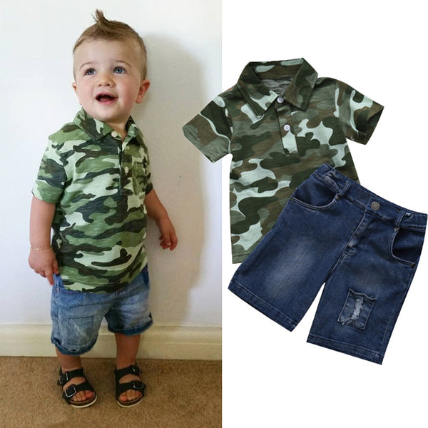 Boys Summer Camo Polo Shirt Denim Shorts Clothing Set Newborn Toddler Infant Kid Baby Boy Clothes T shirt Top Jeans Outfit Sets