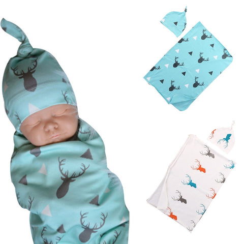 2pcs/set Baby Blankets with Hat Newborn Baby Soft Warm Deer Printed Blue Swaddle Wrap Sleeping Blanket Infant Bathing Towel