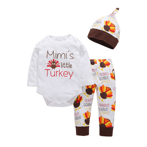 2017 Thanksgiving Autumn Baby Girl Boy Clothes Floral Print Newborn Clothing Set Long Sleeve T Shirt+Pants + Hat Kids 3pcs Suit